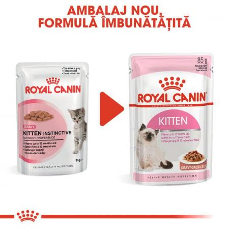 ROYAL CANIN Kitten Instinctive in Gravy Pouch, 12 plicuri x 85 g5