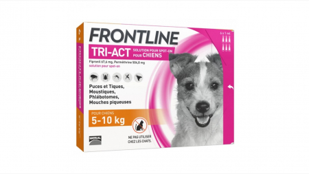 Frontline Tri-act S spot on pentru caini 5-10 kg - 1 pipeta antiparazitara1