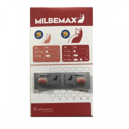 Milbemax Cat 16 / 40 mg (2 - 8 kg), 2 tablete0