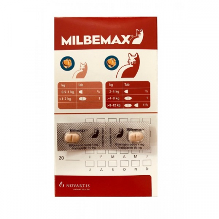 Milbemax Cat 4 / 10 mg (< 2 kg), 2 tablete0