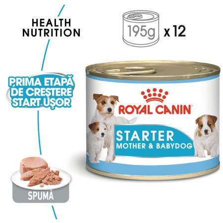 Royal Canin Starter Mousse, mama si puiul, hrana umeda caine, 195 g [0]