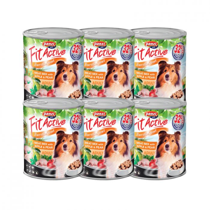 5+1 Fit Active Premium Adult Dog, conserva mix de carne 415 g 0