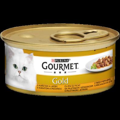 Gourmet GOLD cu pui si ficat in sos, hrana umeda pentru pisici, 85g 0