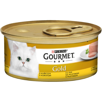 PURINA GOURMET GOLD Mousse cu Pui, hrana umeda pentru pisici 85 g 0