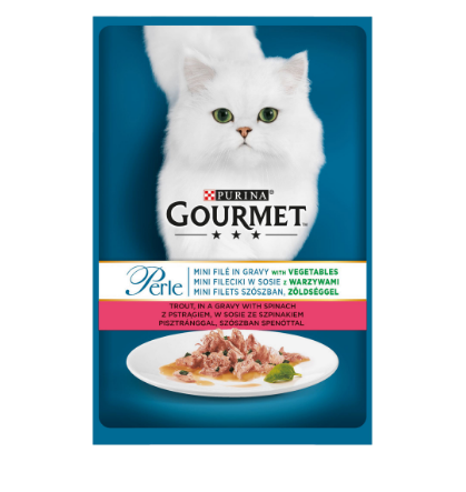 Gourmet Perle cu pastrav si spanac in sos, hrana umeda pentru pisici, 85g 0