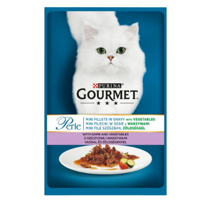 Gourmet Perle cu vanat si legume in sos, hrana umeda pentru pisici, 85g 0