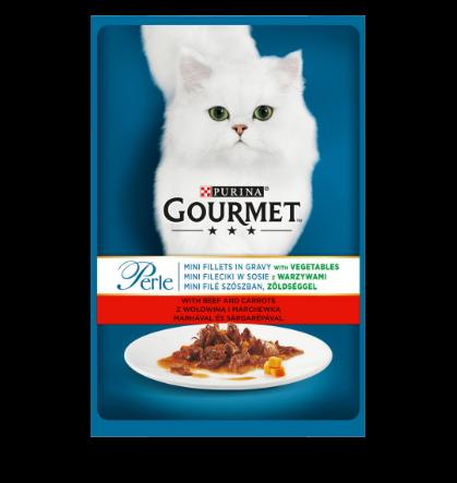 Gourmet Perle cu vita, morcovi si legume in sos, hrana umeda pentru pisici, 85g 0