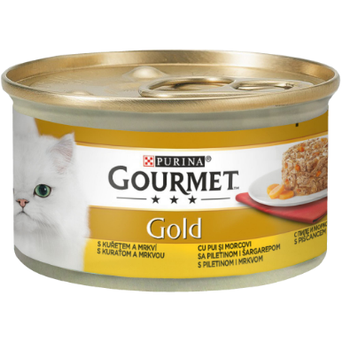 Gourmet GOLD Savoury Cake cu pui si morcovi, hrana umeda pentru pisici, 85g 0