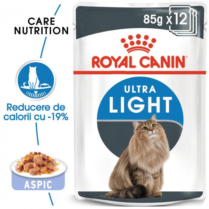 Royal Canin Ultra Light hrana umeda in aspic pentru pisici 12*85 g 0
