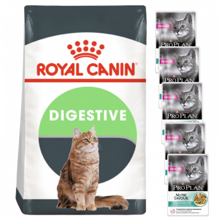CADOU Royal Canin Digestive Care 2 kg + 5x Purina Pro Plan Cat Delicate Peste 85 g [0]