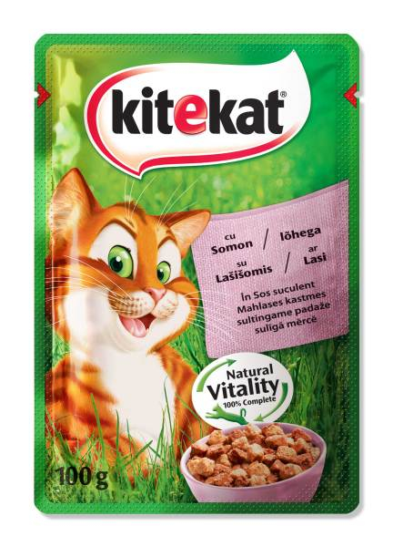 KITEKAT Plic cu somon in sos, hrana umeda pentru pisici adulte, 100 g 0
