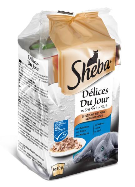 SHEBA Mini Pouch selectie de peste, hrana umeda pentru pisici adulte 6*50 g 0
