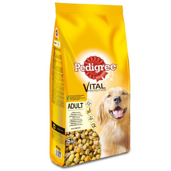 PEDIGREE Vital Protection cu pasare si legume,hrana uscata pentru caini adulti 15 kg 0