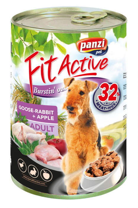 Fit Active Premium Adult Dog, conserva gasca si iepure 415 g 0