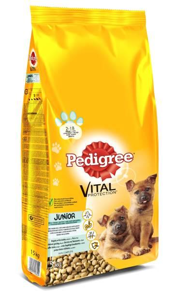 PEDIGREE Vital Protection  cu pui si orez, hrana uscata pentru caini juniori de talie mare 15 kg 0