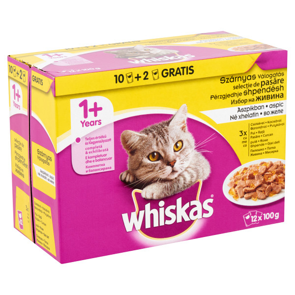 WHISKAS Adult Multipack Selectii pasare in aspic, hrana umeda 12*100 g 0