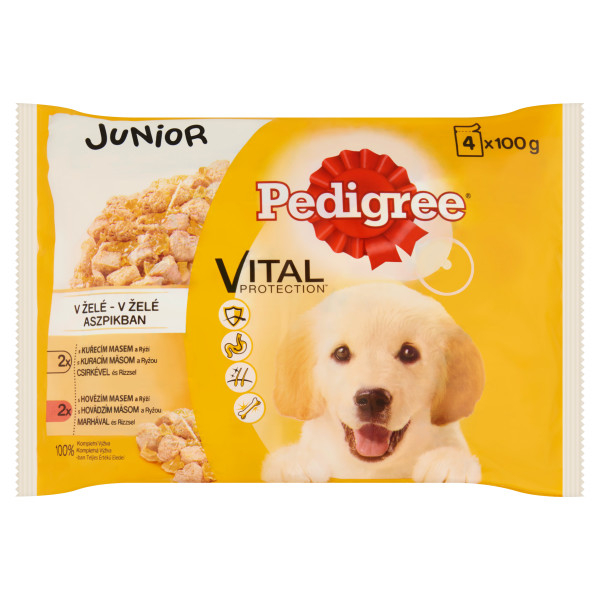 Pedigree Vital Protection Junior Selectii de carne cu orez in aspic 4*100g 0