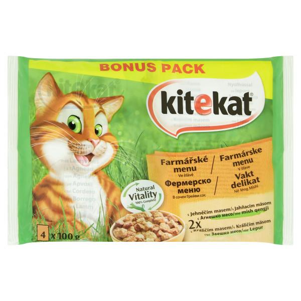 KITEKAT Meniuri Alese miel si iepure in sos,hrana umeda pentru pisici adulte, 4*100 g 0