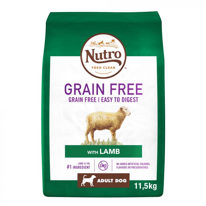 NUTRO GRAIN FREE Hrană Uscată cu Miel pentru Câine Adult de Talie medie 11,5 kg 0