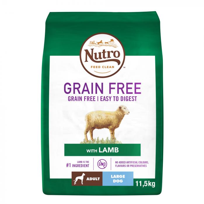 NUTRO GRAIN FREE™ Hrană Uscată cu Miel pentru Câine Adult de Talie Mare 11,5 kg 0