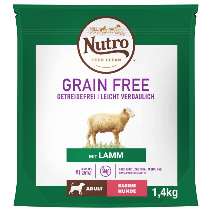 NUTRO GRAIN FREE Hrană Uscată cu Miel pentru Câine Adult de Talie Mică 1,4 kg 0