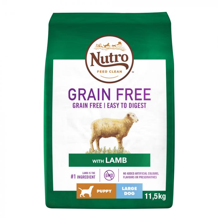 NUTRO GRAIN FREE Hrană Uscată cu Miel pentru Câine Junior de talie mare 11,5 kg 0