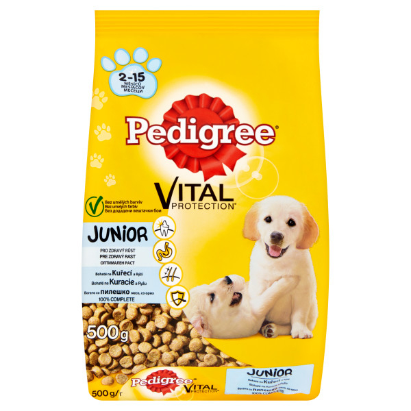 Pedigree Vital Protection Junior 500 g, pui si orez 0