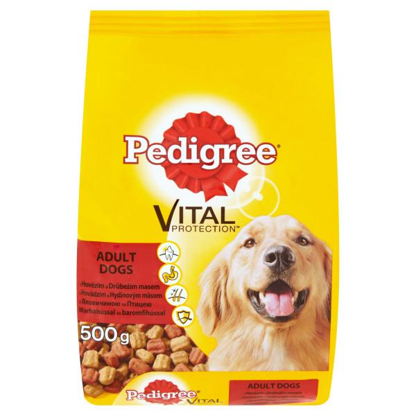 PEDIGREE Vital Protection cu vita si pasare, hrana uscata pentru caini adulti 500g 0