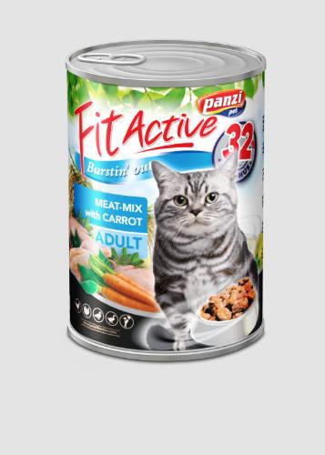 3+1 gratis Fit Active Cat Adult Conserva Mix de carne cu morcovi 415 g [2]