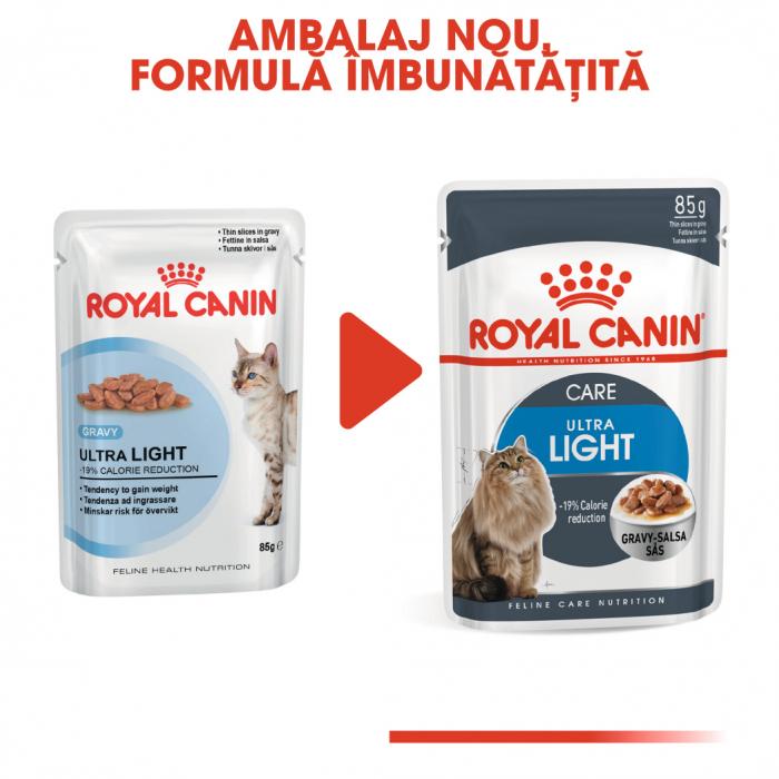 (3+1 pachet gratis) Royal Canin Ultra Light hrana umeda in sos pentru pisici 12*85g [4]