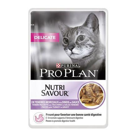 PURINA PRO PLAN CAT DELICATE cu Curcan, hrana umeda 85 g 0