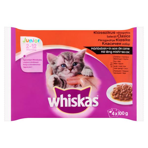 Whiskas Junior Selectii carne in sos 4*100 g 0