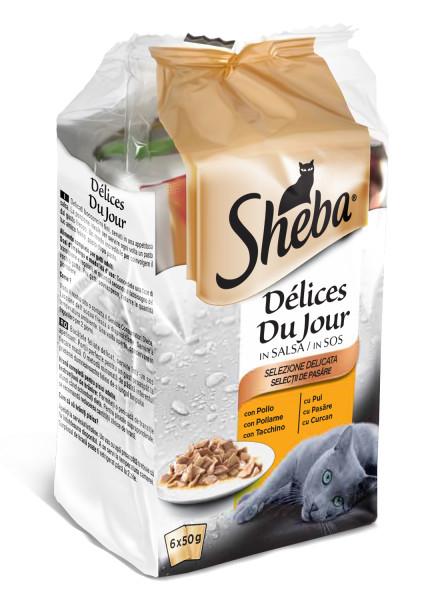 SHEBA Mini Pouch Selectie de pasare in sos, hrana umeda pentru pisici adulte 6*50 g 0