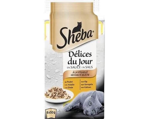 SHEBA Mini Pouch selectie mixta, hrana umeda pentru pisici adulte 6*50 g 0