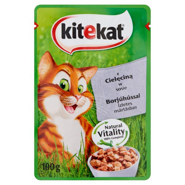 KITEKAT Plic cu vitel in sos, hrana umeda pentru pisici adulte, 100 g 0