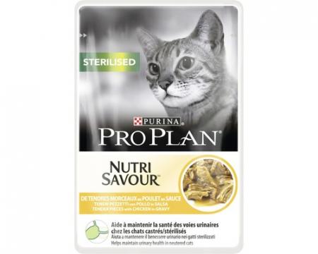 PURINA PRO PLAN CAT STERILISED cu Pui, hrana umeda 85 g