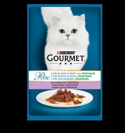 Gourmet Perle cu vanat si legume in sos, hrana umeda pentru pisici, 85g0