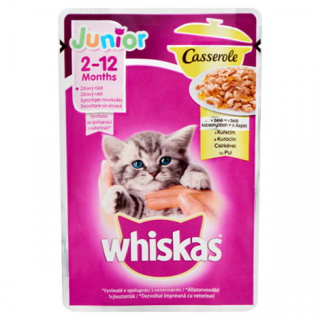 WHISKAS Junior Casserole cu pui in aspic, hrana umeda 85 g