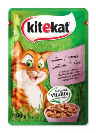 KITEKAT Plic cu somon in sos, hrana umeda pentru pisici adulte, 100 g