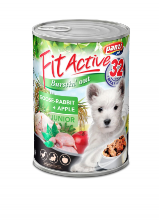 Fit Active Premium Junior Dog, conserva gasca si iepure 415 g