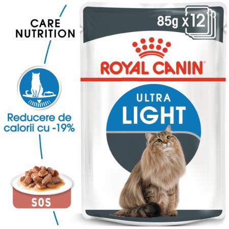 (3+1 pachet gratis) Royal Canin Ultra Light hrana umeda in sos pentru pisici 12*85g [0]
