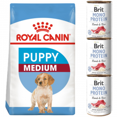 CADOU Royal Canin Medium Puppy 4 kg + 3xBrit conserva miel si orez brun 400 g [0]