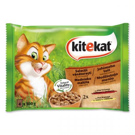 KITEKAT Selectii Vanat, pui si vita in sos, hrana umeda pentru pisici adulte, 4*100 g