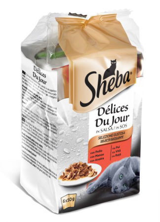 Sheba Mini Pouch Adult Selectii Mixte pui, vita si rata in sos 6*50 g