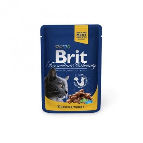 Brit Premium Cat Plic Pui Curcan 100 g 0