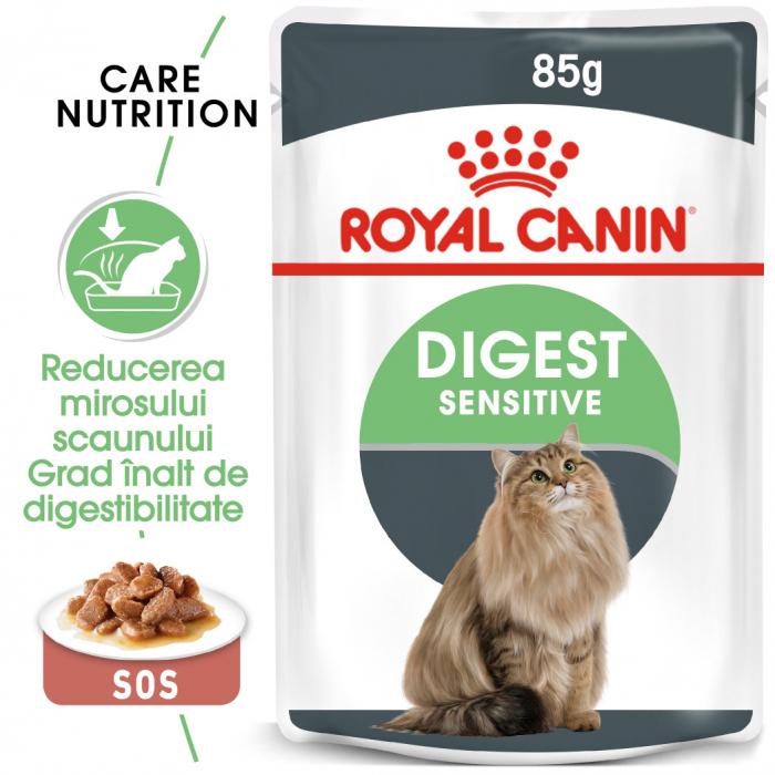 Royal Canin Digest Sensitive Care Adult hrana umeda pisica, confort digestiv (in sos), 12 x 85 g [0]