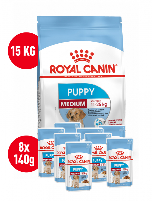Royal Canin MEDIUM Puppy 15 Kg + 8 Plicuri Medium Puppy Gratis 0