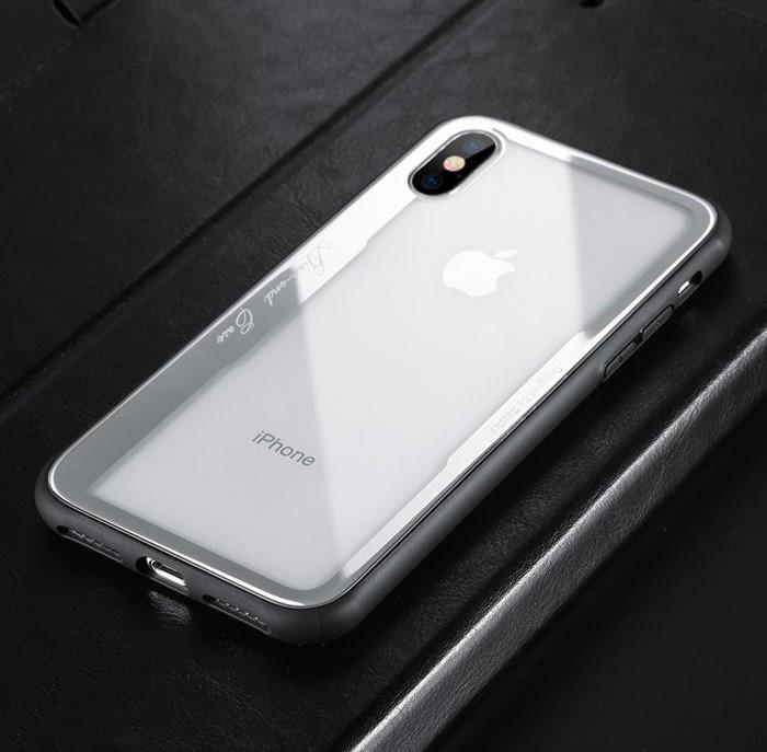 Husa Benks Shiny Glass Alb pentru iPhone X 1