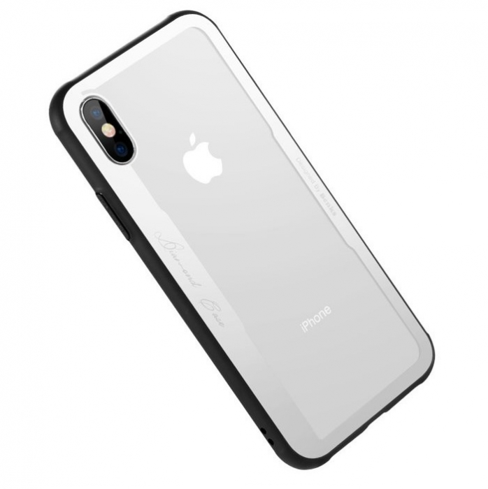 Husa Benks Shiny Glass Alb pentru iPhone X 2