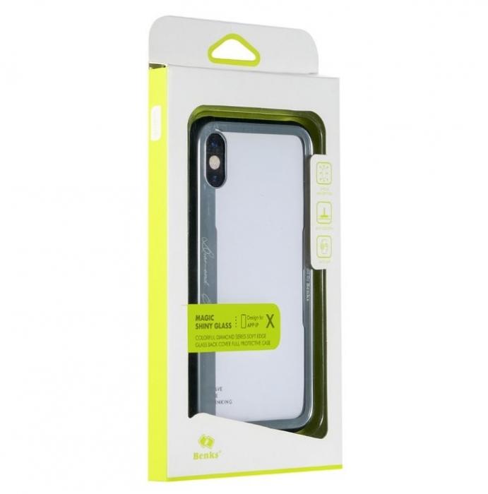 Husa Benks Shiny Glass Alb pentru iPhone X 4